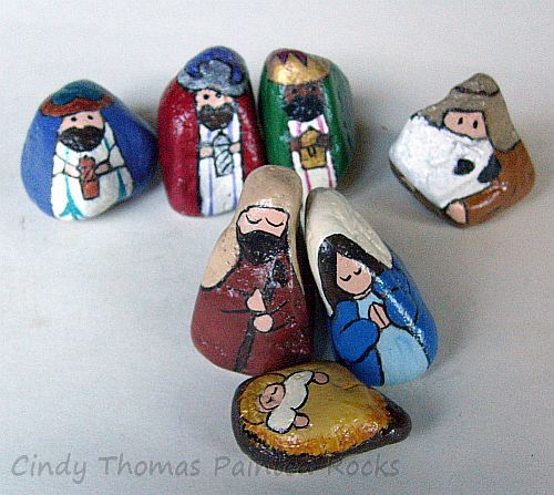 7-Piece Stylized Painted Rocks Nativity Figures