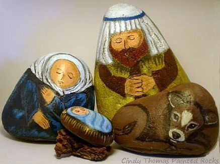 Large Painted Rock Nativity Set