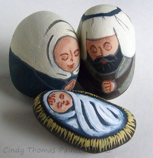 Blue-Brown Painted Stone Nativity Figures