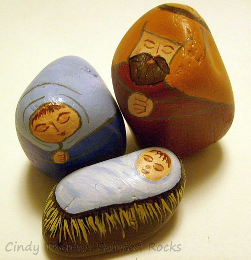 Blue-Rust Red Nativity Set Painted on Decorative Stones
