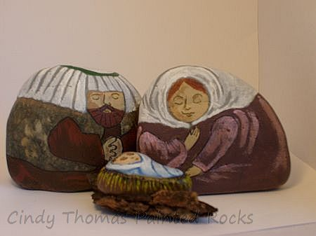 Painted Large Rocks Nativity