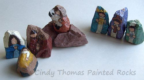 9-Piece Painted Rock Nativity Set