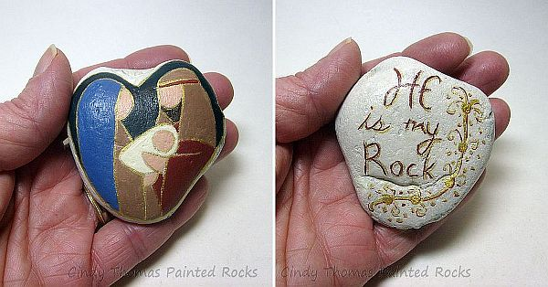 Pocket Nativity Reversible Painted Stone