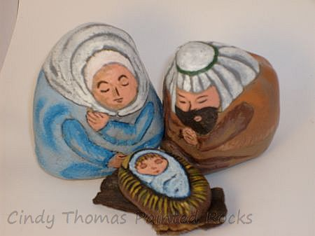 Medium-sized Painted Rock Holy Family