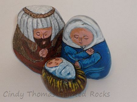 Small Nativity Scene Rock Figures