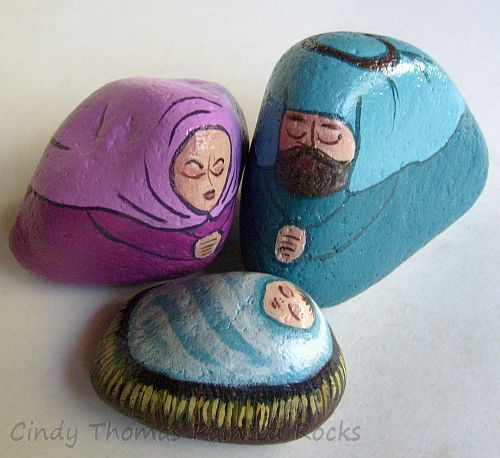 Medium Fuschia-Ocean Nativity Set