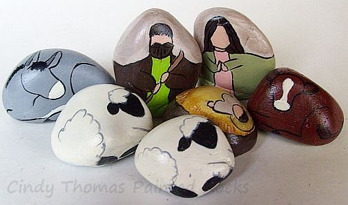 7-Piece Hummingbird Painted Rock Nativity Set