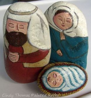 Large Nativity Set - Teal-Rust