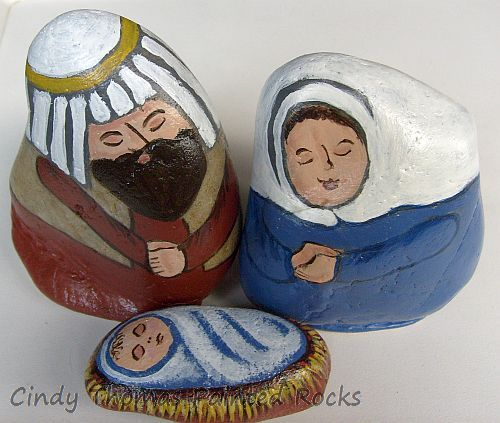 Medium Blue-Brown Painted Rock Nativity Set