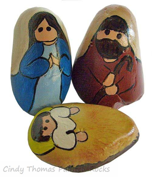 Stylized Blue-Brown Decorative Stony Nativity Set