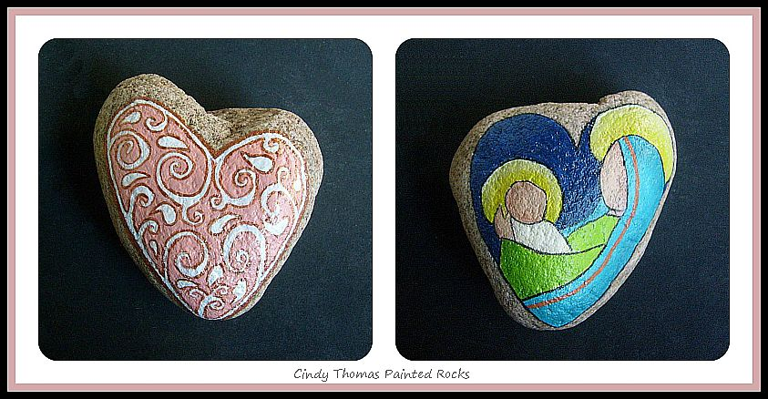 Heart of Christmas Mother and Child Reversible Painted Rock