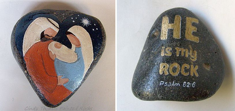 The Heart of Christmas Orange and Blue Reversible Nativity Painted Rock