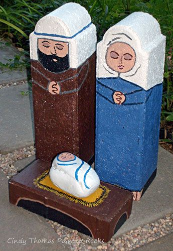 4-Piece Nativity Set Painted on Garden Pavestones
