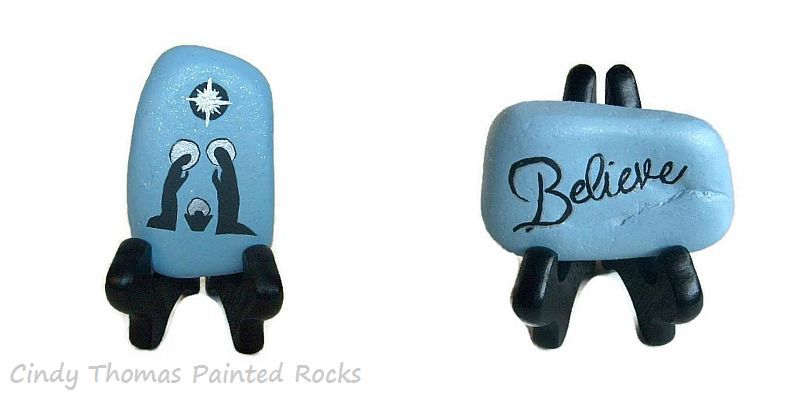 Reversible Nativity Silhouette Painted Rock