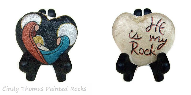 Reversible Teal-Copper Nativity Painted Rock