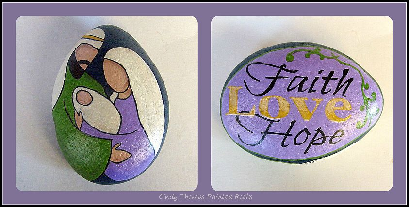 The Heart of Christmas Green and Lavender Reversible Nativity Rock
