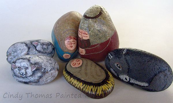 6-Piece Rusty-Teal Painted Rock Nativity Set