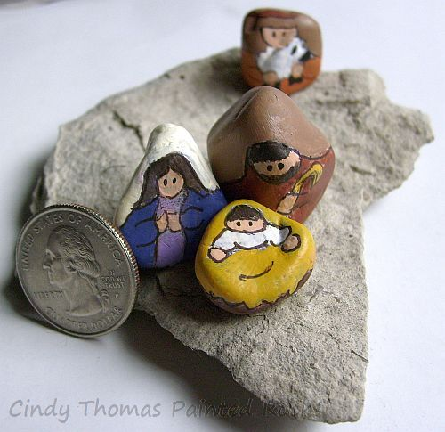 Tiny Painted Rock Nativity Set on Slate