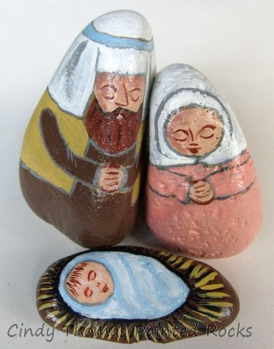 Small Coral-Brown Painted Rock Nativity