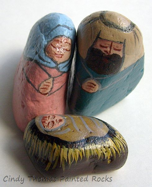 Teal-Sweetheart Painted Rock Nativity Set
