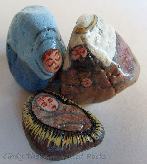 Tiny Blue-Natural Painted Rocks Nativity Set