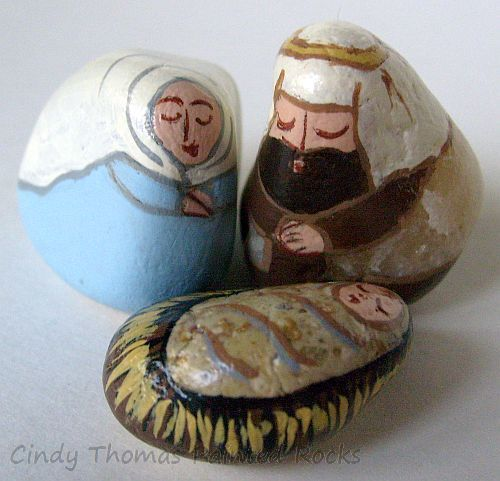 Tiny Light Blue-Natural Nativity Set Painted on Colorado Stones