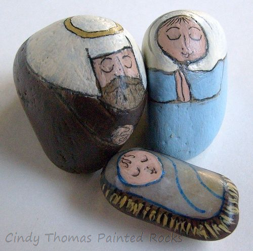 Tiny Light Blue - Brown Painted Rock Nativity Set