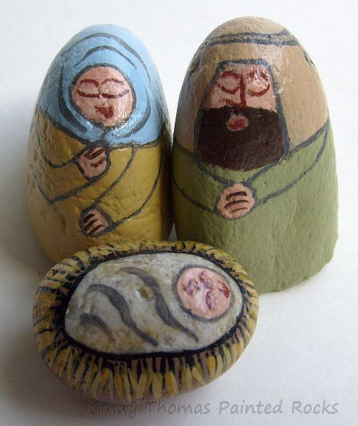Small Yellow-Olive Painted Rock Nativity Set